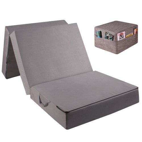 Gigapur Gig26707 Visco Luxus Klappmatratze für Erwachsene mit Housse Pfeffer und Salz Faltmatratze, Gästematratze, BandscheibenwürfelKlappmatratze