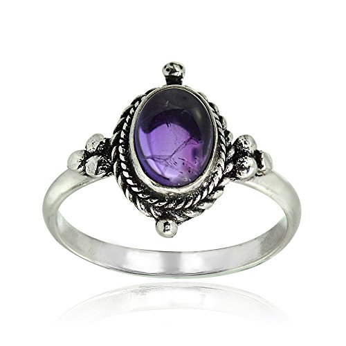 - Sterling Silver Simulated Cabochon Amethyst Oval Bali Twist Rope Ring, Size 6