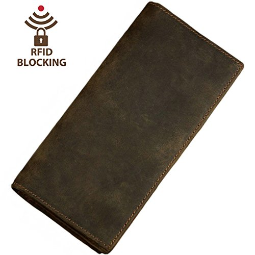 Mens Breast Pocket Wallet - Itslife Men's RFID BLOCKING Vintage Look Genuine Leather Long Bifold Wallet Rfid
