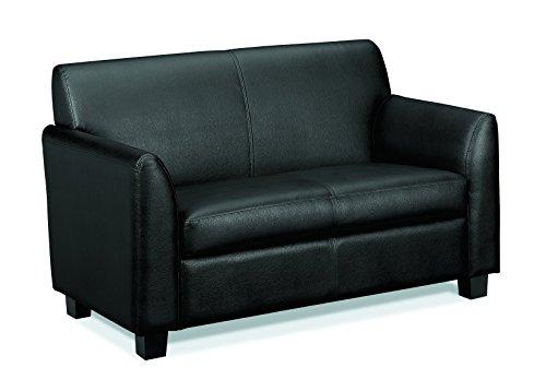 HON Circulate Tailored Two-Cushion Loveseat, Black SofThread ()