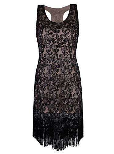 VIJIV 1920s Gastby Bead Sequin Embellished Fringe Paisley Cocktail Flapper Dress Black Beige ()