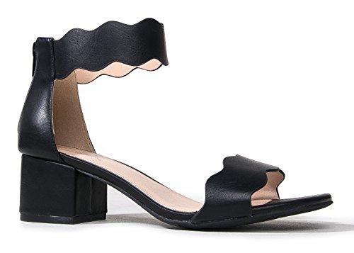 J. Adams Open Toe Ankle Strap Sandal, Black PU, 7 B(M) US by J. Adams
