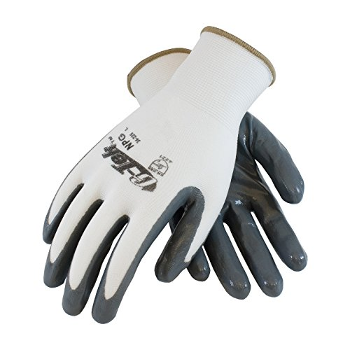 Coated Seamless Knit Glove - G-Tek NPG 34-225/L Seamless Knit Nylon Glove with Nitrile Coated Smooth Grip on Palm and Fingers