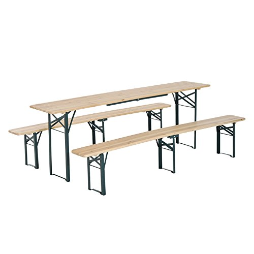 (Outsunny 7' Wooden Outdoor Folding Patio Camping Picnic Table Set with)