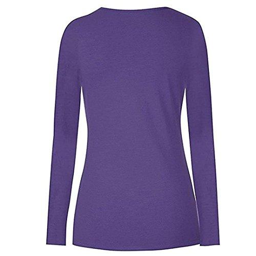 Shirt Manches Top Double Longues maternit T Mode Wrap YUYOUG Purple Femmes Allaitement Hauts Couche Blouse 0OBq4