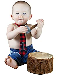 1st Birthday Boy Lumberjack Buffalo Plaid Neck Tie Outfit Cake Smash Baby Necktie Red Black