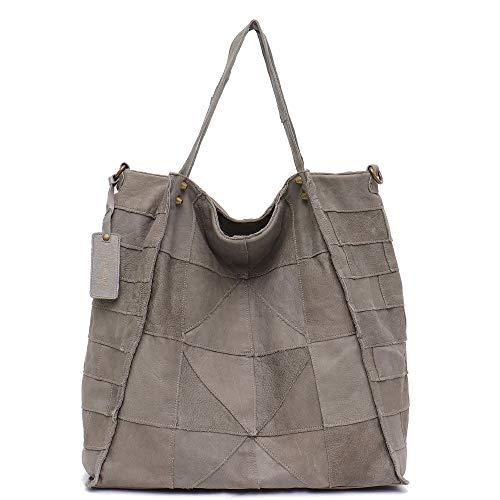 Genuine Leather Women's Shoulder Bag STEPHIECATH Large Casual Soft Real Leather Skin Handmade Patchwork Strip Vintage Tote Bag (GREY)