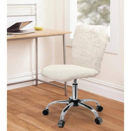 (Urban Shop Faux Fur Task Chair, Durable and Comfortable, Stylish White Sherpa, Perfect for Bedroom or Dorm Room Use)