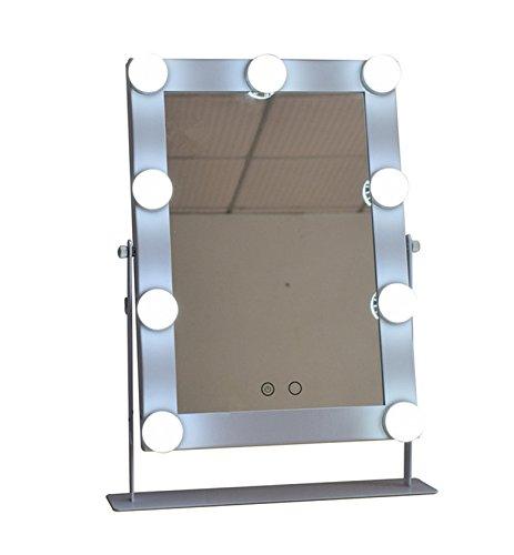 Espejo maquillaje grande con 9Big bombillas LED Espejos Vanidad se pueden Hanging 180° Rotación Color Blanco/Color...