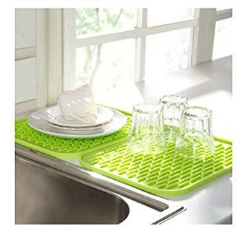 Vinallo Green Silicone Kitchen Drainer Sink Dish Drying Mat Washing Up Tea  Towel