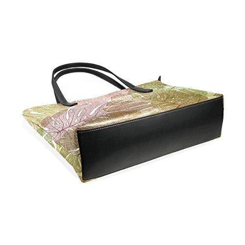 Shoulder Fashion TIZORAX Top Tree Handbag Totes Bags Purses Leaves PU Women's Handle Palm Leather YYxqvB