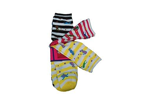 Socks Ladies 3-Pair Designer Size 9-11 Black/Pink/Yellow Stripped SeaLife Socks