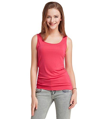 Liang Rou Camiseta sin mangas elástica de licra modal nervada cuello redondo para mujer Rosa roja