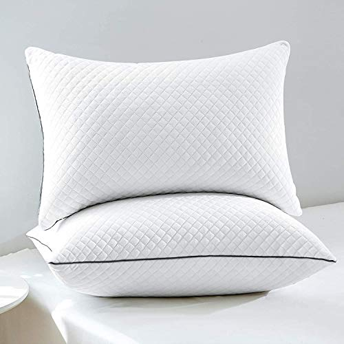 GOHOME 2 Pack Adjustable Bed Pillows for Sleeping - Super Soft Velvet Fabric Hotel Pillows for Side Back and Stomach Sleepers