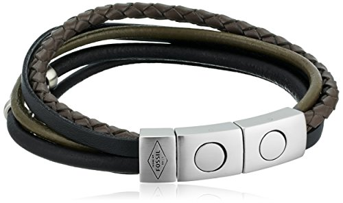 Cuff Leather Fossil - Fossil Men's Retro Pilot Multi-Strand Bangle Bracelet