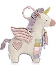 Itzy Ritzy Link & Love Activity Plush with Teether; Attaches to Stroller or Car Seat; Includes Jingle Sound & Clinking Rings, Pegasus