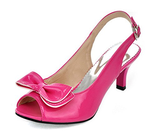 Aisun Women's New Patent Leather Peep Toe Kitten Heels Sandals (New Patent Leather Peep Toe)