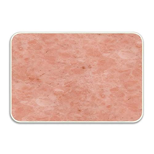 Rosa Marble - Huayuanhurug Rubber Door Mat,Indoor Outdoor, Easy Clean, Ettore Rosa Marble - Salmon Pink Low-Profile Mats for Entry, Patio, Garage,Entrance Ways 23.6