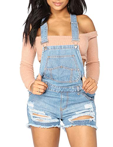 LookbookStore Women's Ripped Denim Bib Overall Shorts Raw Hem Shortall Jeans Light Blue, Size XXL