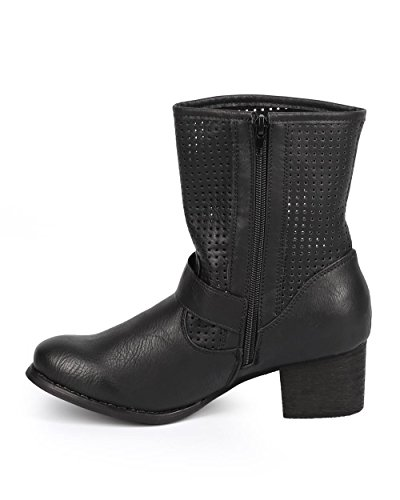 Women Round Riding Strap DB59 Toe Perforated Boot Liliana Black Leatherette Buckle xI5488wO