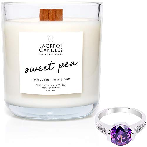 Jackpot Candles Sweet Pea Candle with Ring Inside (Surprise Jewelry Valued at $15 to $5,000) Surprise Ring Size ()