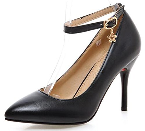 IDIFU Womens Sexy High Stiletto Heels Closed Pointed Toe Ankle Strap Pumps Shoes With Pendant Black