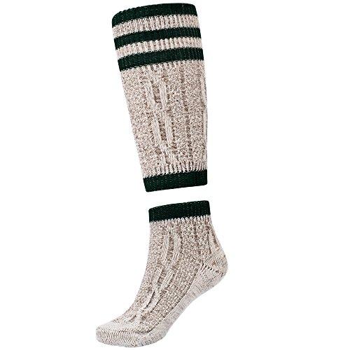 Traditional bavarian Lederhosen socks 2 pieces beige/green size -