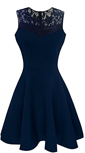 Heloise Women's A-Line Sleeveless Pleated Little Dark Navy Blue Cocktail Party Dress With Floral Lace (S, Navy)