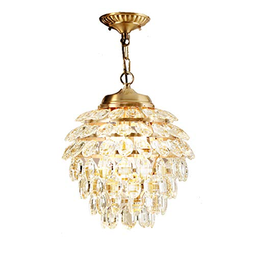 - Copper Crystal Chandelier Pinecone Design Lampshade Nordic Luxury Bedroom Restaurant Corridor Ceiling Light E146