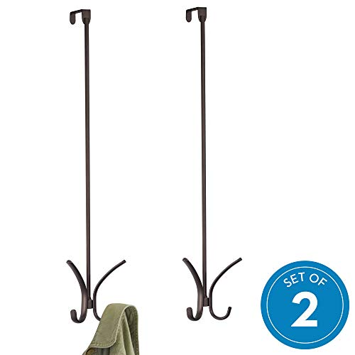 (InterDesign Axis Easy Reach Quad Hook, Over-The-Door Towel Holder or Coat Rack - Set of 2 24