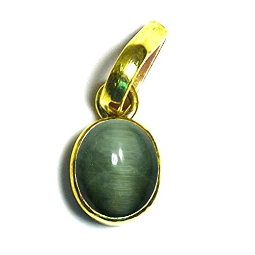 (55Carat Brand Genuine Green Cat's Eye Panchdhatu Pendant 3 Carat Stone Bezel Setting Gold Plated Locket )