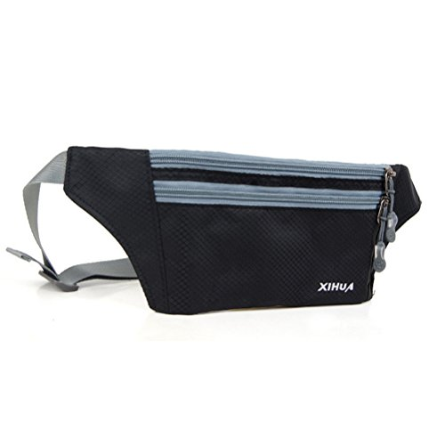 Ultraslim Waterproof Casual Sporty Nylon Stealth Small Running Travel Waist Bag Black