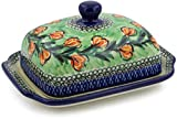 Polish Pottery 6¾-inch Butter Dish made by Ceramika Artystyczna (Tulip Wreath Theme) Signature UNIKAT + Certificate of Authenticity
