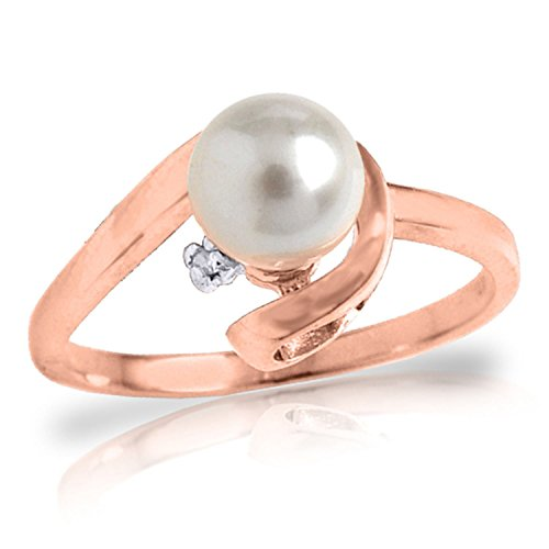 1.01 Carat 14k Solid Rose Gold Ring with Natural Diamond and Freshwater-cultured Pearl - Size 6 by Galaxy Gold