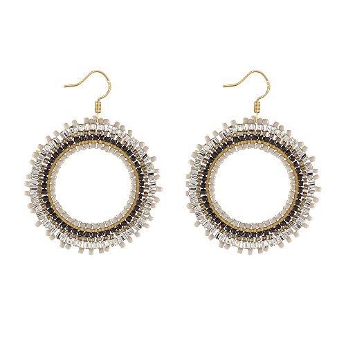 (Radtengle Fashion Circle Seed Beaded Dangle Earrings ColorfulNative American Jewelry for Women Girls )