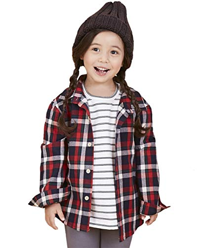 SenseFit Kids Little Girls Boys Toddler Clothes Dress Casual Long Sleeve Button Down Buffalo Plaid Flannel red Black Shirts