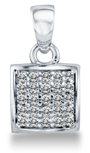 Solid 14K White Gold 7mm Rounded Square Micro Pave Set CZ Cubic Zirconia Pendant Charm (0.3