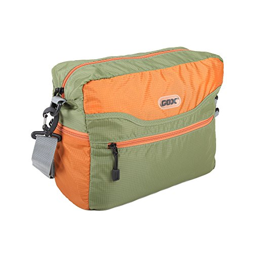 Foldable Messenger Bag, GOX Premium Nylon Shoulder Bag, Lightweight Casual Daypack With Waterproof (Green/Tangerine)