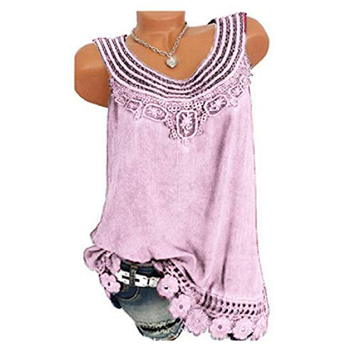 iYBUIA Women O-Neck Sleeveless Pure Color Lace Plus Size Vest Loose T-Shirt Blouse with Hollow Hem Pink by iYBUIA (Image #1)