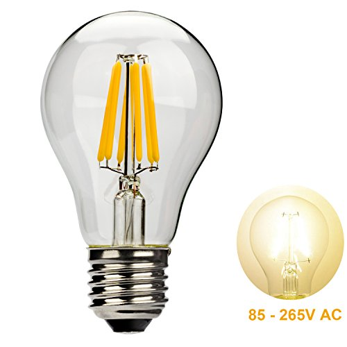 Leadleds 6W A19 LED Filament Light Bulb Edison Style E27 Medium Base 85 - 265V AC to Replace 60 Watt Incandescent Bulb, Warm White Light