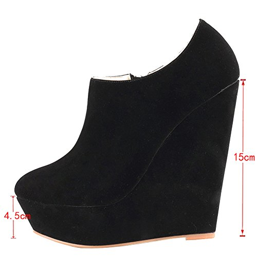 Pure Damiasu Reißverschluss Schwarz Platform Heels Stiefel Color Kleid Damen Wedge EKS CqxX6X