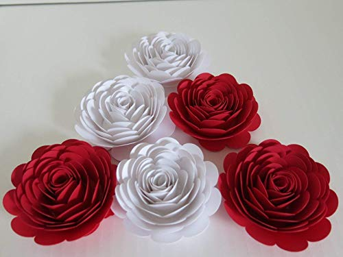 (Red & White Paper Roses, 3 Inch Paper Flowers, Set of 6 Wedding Flowers, Bridal Shower Decor, Mad Hatter Theme Tea Party Decorations)