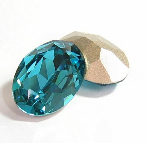 2 pcs Swarovski Crystal 4120 Oval Cabochon Stone Bead Indicolite Foiled 18mm x 13mm / Findings / Crystallized Element