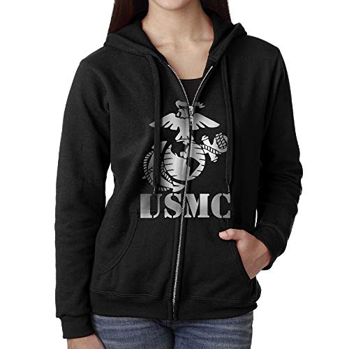 (Eagle Globe Anchor USMC Marine Corps Vinyl100% Cotton Woman Full Zip Hoodies with Pockets Zipper Hoodie Black)