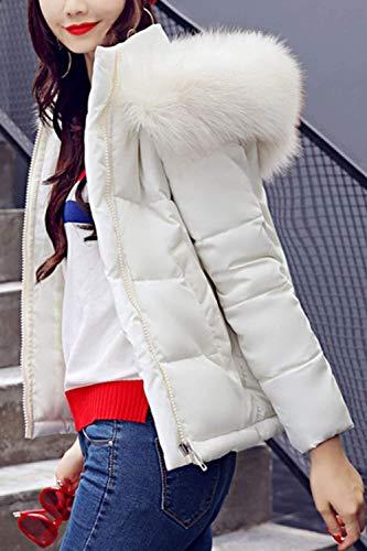 Capa Outwear Piel Capucha con Moda Larga Mujer Abrigos Bolsillos Blanco Cuello Invierno Hipster con Modernas Manga De Laterales Corto Plumas Cremallera con Brv5RqwB