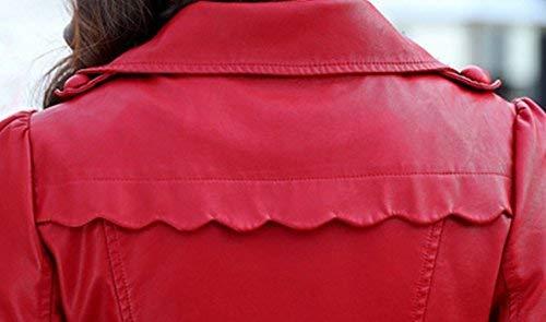Invernali Bavero Di Inclusa Monocromo Confortevole Biker Double Lunga Giovane Similpelle Outdoor Giacca Jacket Antivento Cintura Anteriori Manica Donna Breasted In Pelle Tasche Rot qa5OnIWw