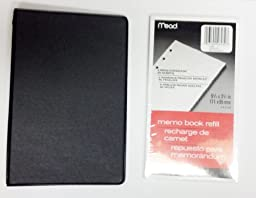 Bundle - Mead Loose-leaf 6-ring Memo Book, 6-3/4 X 3-3/4, with 80 Sheets White Filler Paper (Black)