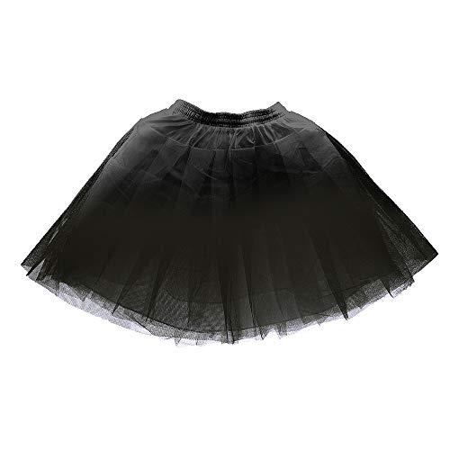 LULUSILK Girl's Hoopless Petticoat Crinoline with 3 Layers, Wedding Flower Girl Slip Underskirt for Kids (Black)