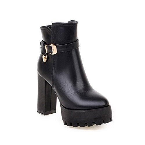 AllhqFashion Damen Hoher Absatz Rein Rund Zehe Weiches Material Reißverschluss Stiefel, Schwarz, 38