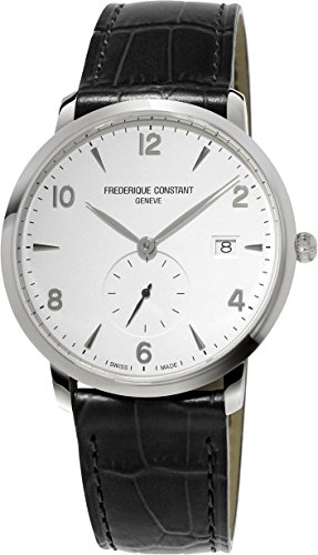Frederique Constant Men's 'SlimLine' Swiss Quartz Stainless Steel and Leather Dress Watch, Color:Black (Model: - Procedures Shipping International